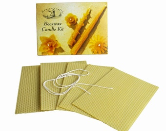 House of Crafts Natural Beeswax Candle Making Kit 5 Sheets Rolled Coloured Wick Traditional Pastime