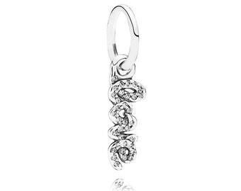 Authentic Pandora Signature of LOVE Dangle Charm Bead Clear Czs