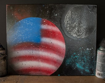 Planet USA - Spray Paint on Canvas 16in x 20in