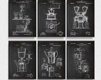 Coffee Patents Set of 6 Prints, Kitchen Wall Decor, Kitchen Wall Art, Restaurant Decor, Dining Room Wall Decor, Coffee Wall Decor