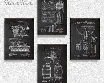 Beer Patents Set of 4 Prints, Beer Prints, Beer Posters, Beer Blueprints, Beer Art, Beer Wall Art, Beer Art, Patent Prints