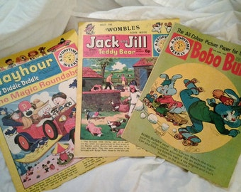 40% off Childrens Magazines  - 2 x Boho Bunny 1970- Jack and Jill and Teddy Bear and Wombles  1974 - Playhour and Hey Diddle Diddle 1976