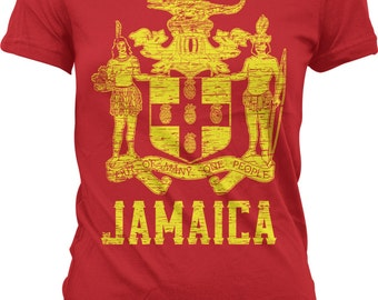 Jamaica, Coat of Arms, Out of Many, One People, Pride Juniors T-shirt, NOFO_00248
