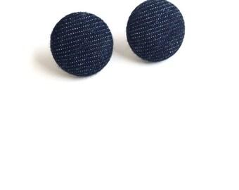 Dark Denim Fabric Button Earrings