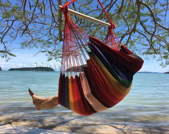 large brazilian hammock chair   quality cotton weave for superior  fort   vivacious colors enhance home hammock chair   etsy  rh   etsy
