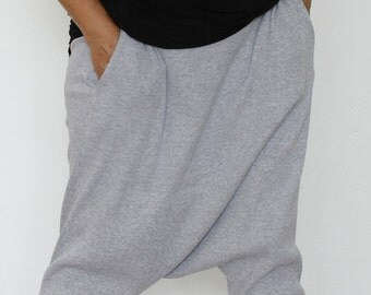 Harem Pants / Side pockets / Light Grey Harem Pants / Drop Crotch Pants / Yoga Pants / Rib Cotton Pants