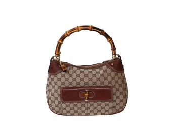 Vintage Gucci by Tom Ford Classic Bamboo Monogram Handbag 1990s