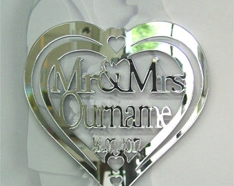 Personalised Wedding Cake Topper Mr & Mrs Yourname   And Wedding Date Acrylic  Mirror
