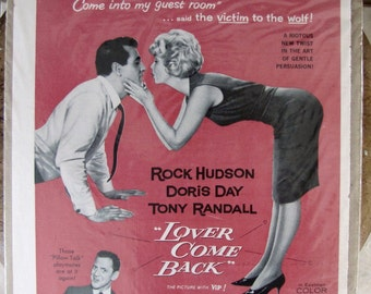 "Vintage movie ad, 1962 movie ad, Rock Hudson, Doris Day, Tony Randall ""Lover Come Back"", Home decor"