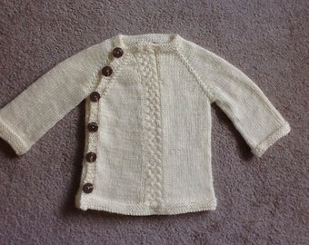 Custom made baby's  long sleeved side buttoned sweater in 12 months size