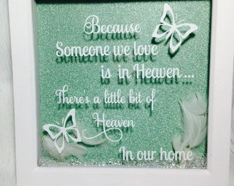 Memorial Box frame, Memorial Gift, Keepsake Box Frame, Someone We Love In Heaven, Feather Memorial Frame, Remembrance Box Frame.