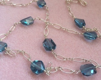 London Blue Topaz and Sterling Silver Necklace