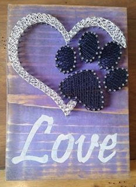 items similar to love with paw print string art on etsy. Black Bedroom Furniture Sets. Home Design Ideas