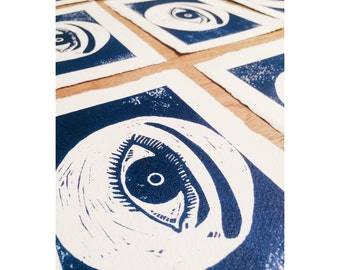 SALE (LIMITED TIME) Original Private Eye Lino Print | Art | Illustration | Home Decor | Eyes | Blue | Wall Art | Print