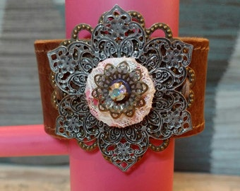 Flower Cuff on Brown Leather