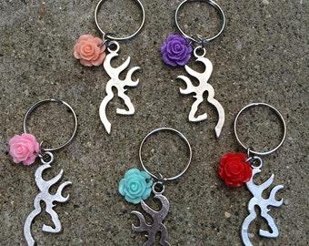 Browning deer flower keychain