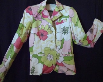 Vintage Jacket/Blazer by 'Imperial' Made in Italy Retro Hippy Flowers Womens Clothing