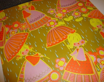 Vintage Gift Wrap Girl with Umbrella, Raindrops, and Flowers 1972 American Greetings Cool Retro Wrapping Paper