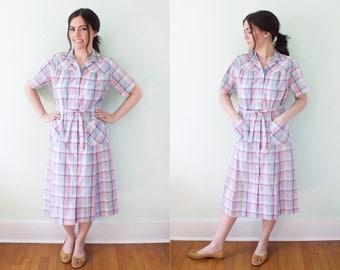 60s Pastel Plaid dress button up - A Nancy Frock - belted summer dress housedress pink purple