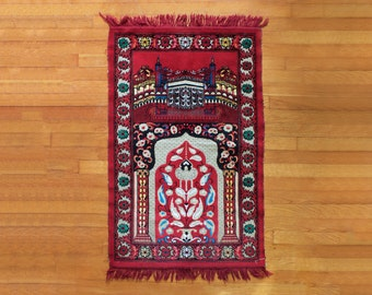 Vintage Prayer Rug Woven Red Mosque Design
