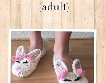 Crochet pattern bunny slippers (adult)English