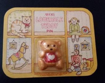 Vintage Avon Loveable Teddy Pin