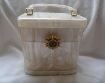 Vintage Pearlized Lucite Box Purse
