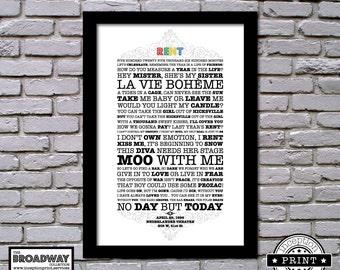 Rent - Framed - Quotes - Lyrics - Typography Print
