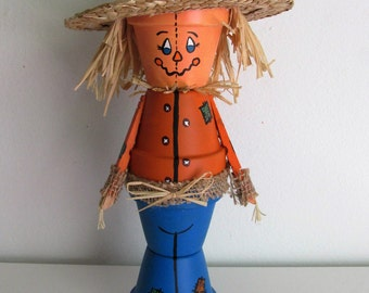 Hand-Painted Clay Pot Scarecrow Shelf-sitter Figurine