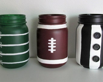 Hand-Painted Football Themed Mason Jars, featuring a Football, a Referee, and a Field, set of 3 pint-sized