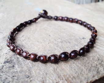 Red tiger eye anklets,Stone anklets,Men anklets,Beadwork anklets