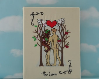 Art - linen on stretched canvas - Lovers - Adam and Eve - Tarot
