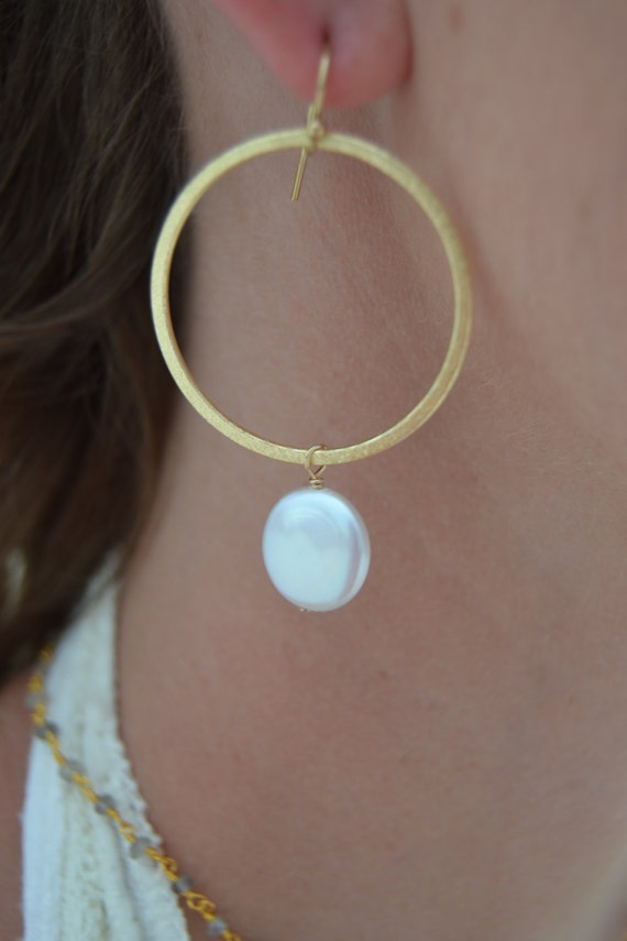 Gold Hoops with Freshwater Coin Pearl Dangles