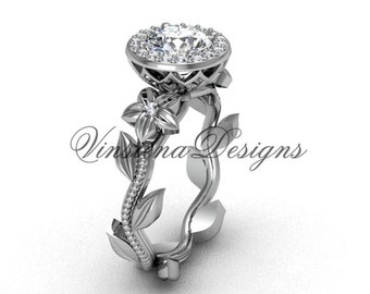 platinum diamond leaf and vine, floral engagement ring VF301016