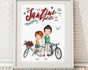 RITRATTO DI FAMIGLIAx2  personalizzato,illustrazione, Custom Family Portrait,  (2 soggetti)