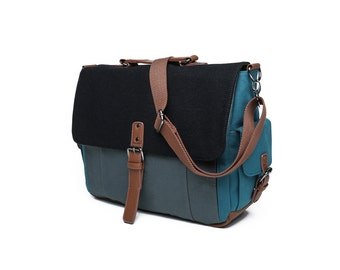 Tri-Color Canvas and Wool Messenger Bag in Black/Blue/Grey (SS702)