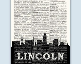 Lincoln Skyline, Lincoln Poster, Lincoln Decor, Lincoln Print, Lincoln Wall Art, Lincoln Gift, Lincoln Wall Decor, Lincoln Nebraska