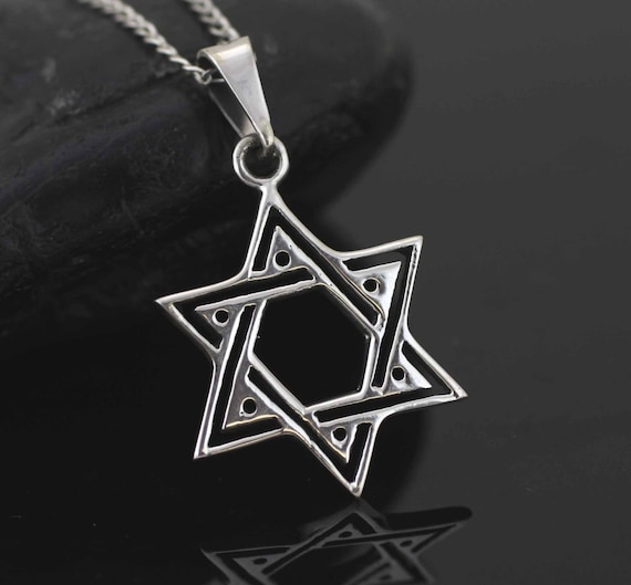 Star of david necklace sterling silver star of david for Star hallmark on jewelry