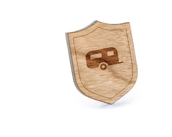 Camper Lapel Pin, Wooden Pin, Wooden Lapel, Gift For Him or Her, Wedding Gifts, Groomsman Gifts, and Personalized