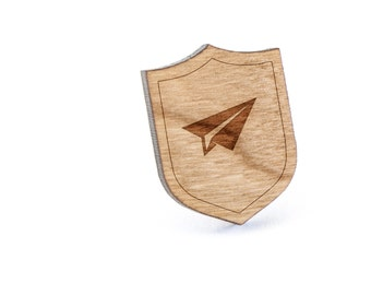 Paper Airplane Jet Lapel Pin, Wooden Pin, Wooden Lapel, Gift For Him or Her, Wedding Gifts, Groomsman Gifts, and Personalized