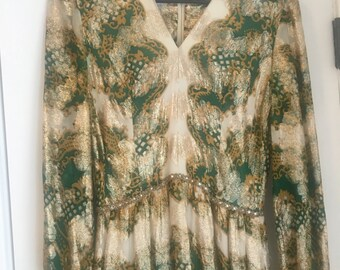 Showstopping 1970s Emerald and Gold Maxi Dress // 1970s I.MAGNIN & CO.