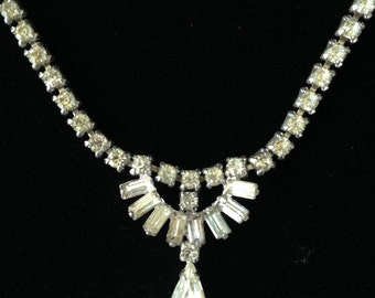 Vintage Sherman Necklace- Vintage Sherman Jewelry- Vintage Rhinestone Necklace-Gustave Sherman Necklace-Bridal Necklace- Made In Canada
