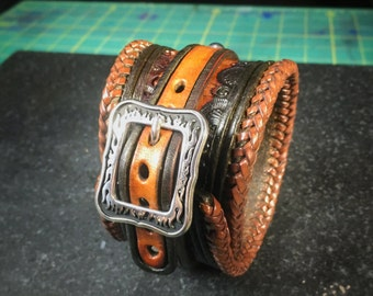 Leather Cuff Bracelet • Hand Tooled • Handmade • WS1