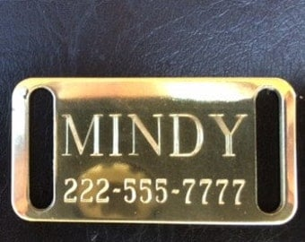 Solid Brass Small Slider Tag for collars up to 1/2 inch