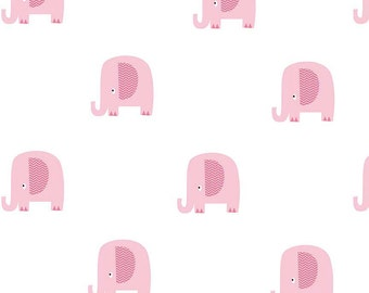 Riley Blake Double Gauze, Pink Elephants on White, fabric by the yard