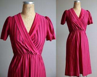 Purple Striped Secretary Dress