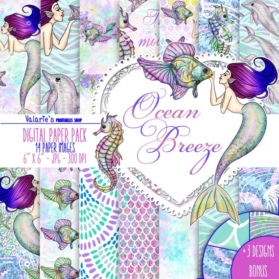 Ocean Mermaids Digital Paper Pack Instant Download Printable Blue Purple Green Aqua Sea Star Sea Horse Fish Coral Dolphin Conch Mermaid 6x6""