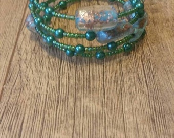 Green,Blue and Gold Memory Wire Bracelet