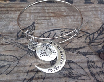 I love you to the moon and back bracelet~ Bangle style bracelet~ I love you to the moon and back bangle