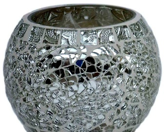Glass tafan candle holder votive in silver and gold